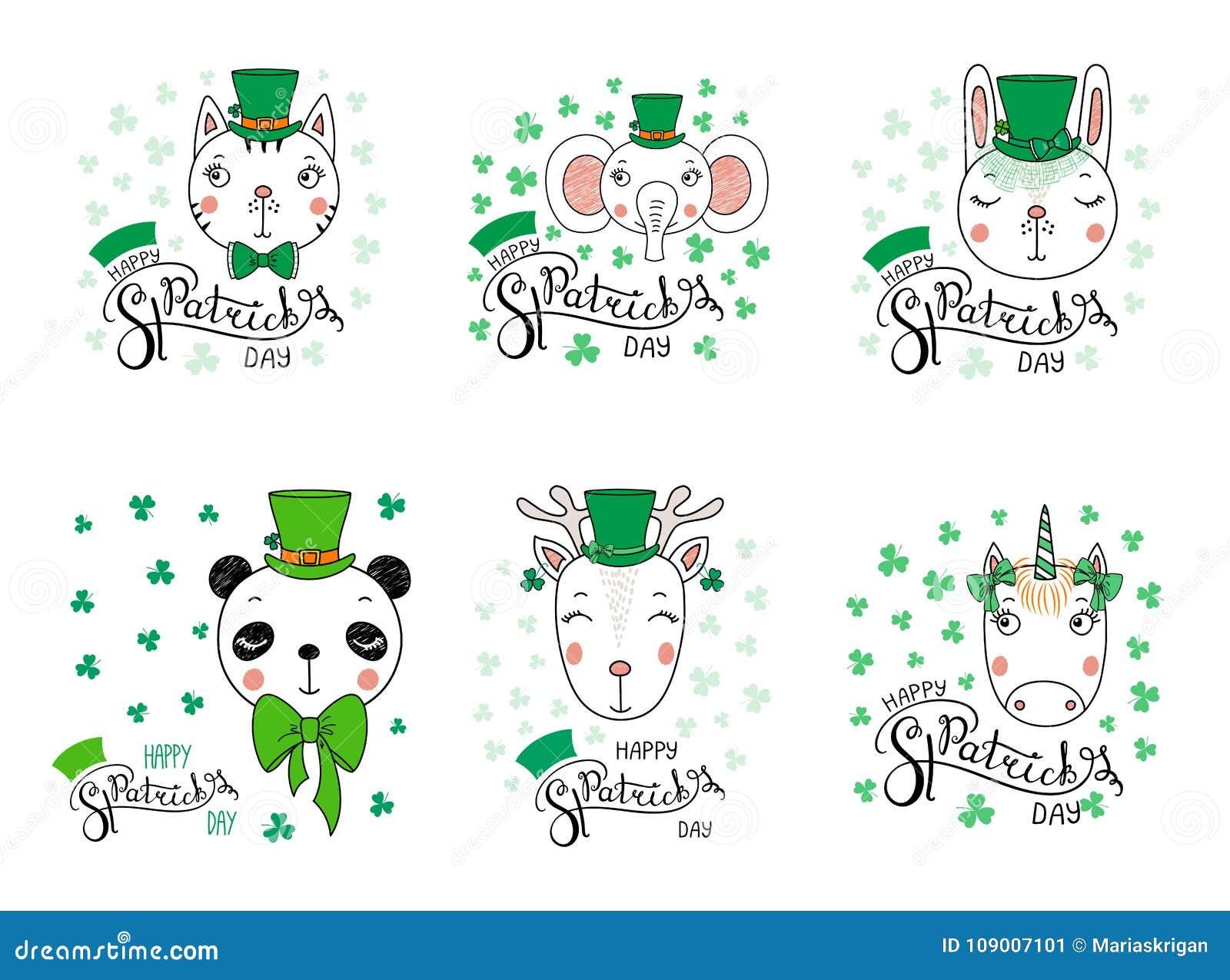 Cute Animals In Leprechaun Hats Stock Vector Illustration Of Hand