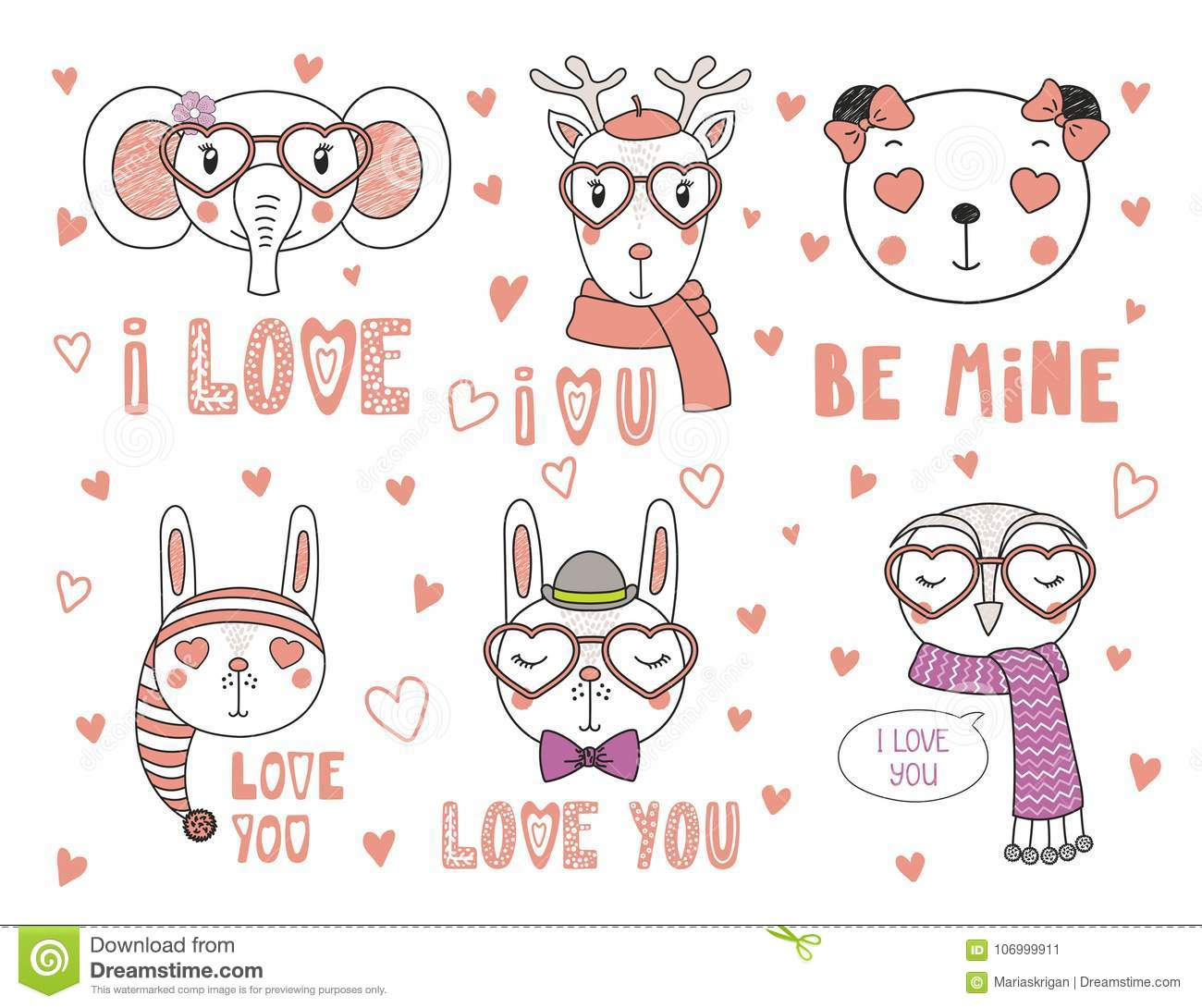 Cute Animals In Love Stock Vector Illustration Of Collection