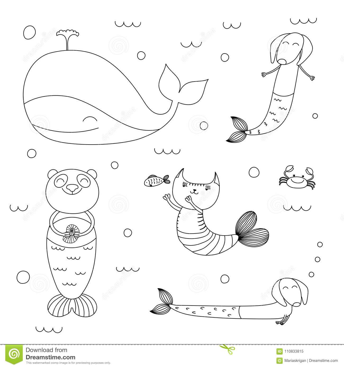 Cute Animals Mermaids Coloring Pages Stock Vector - Illustration of ...