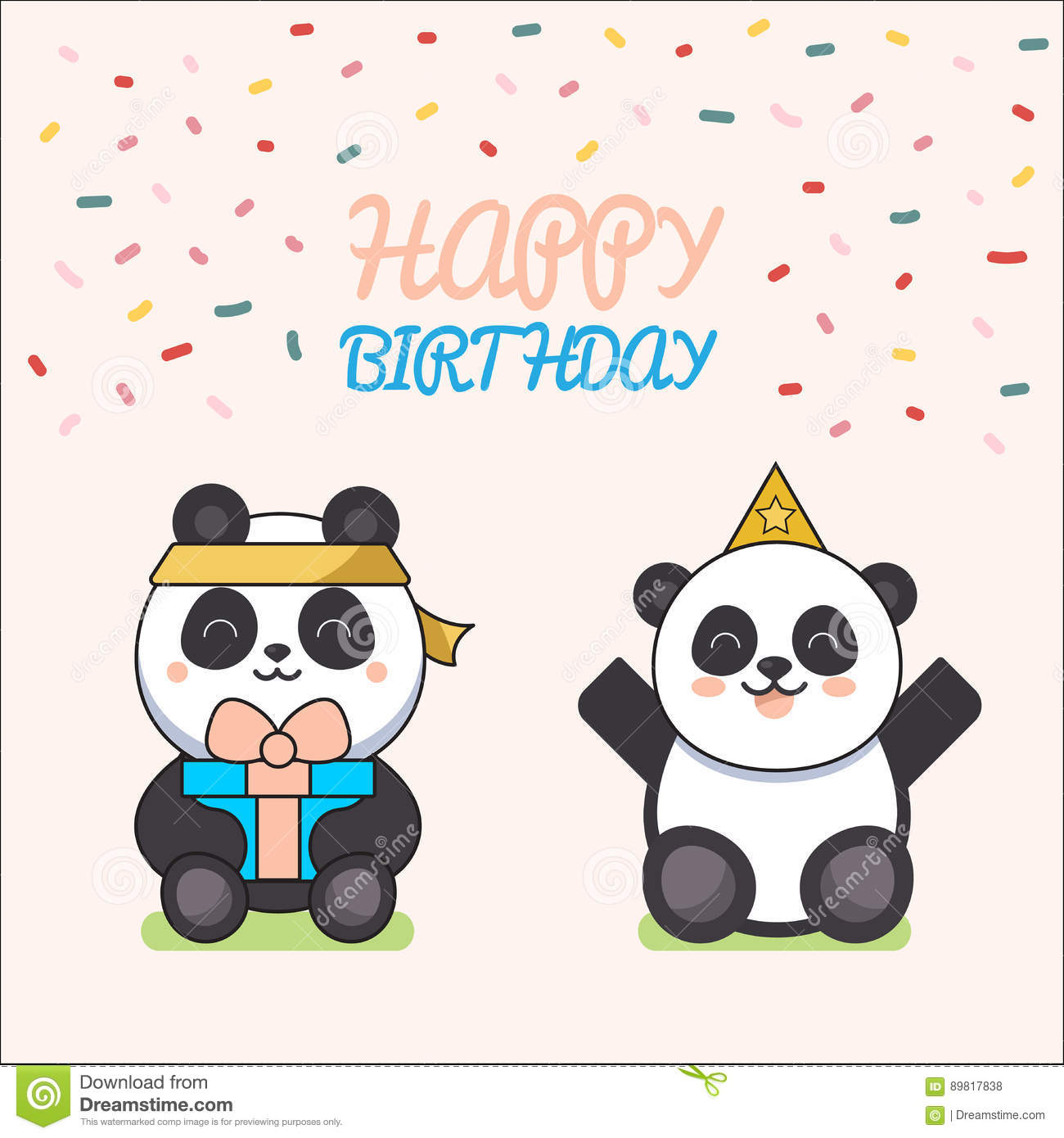 Cute Animals Poster Cute Happy Birthday Greeting Card For Child Fun