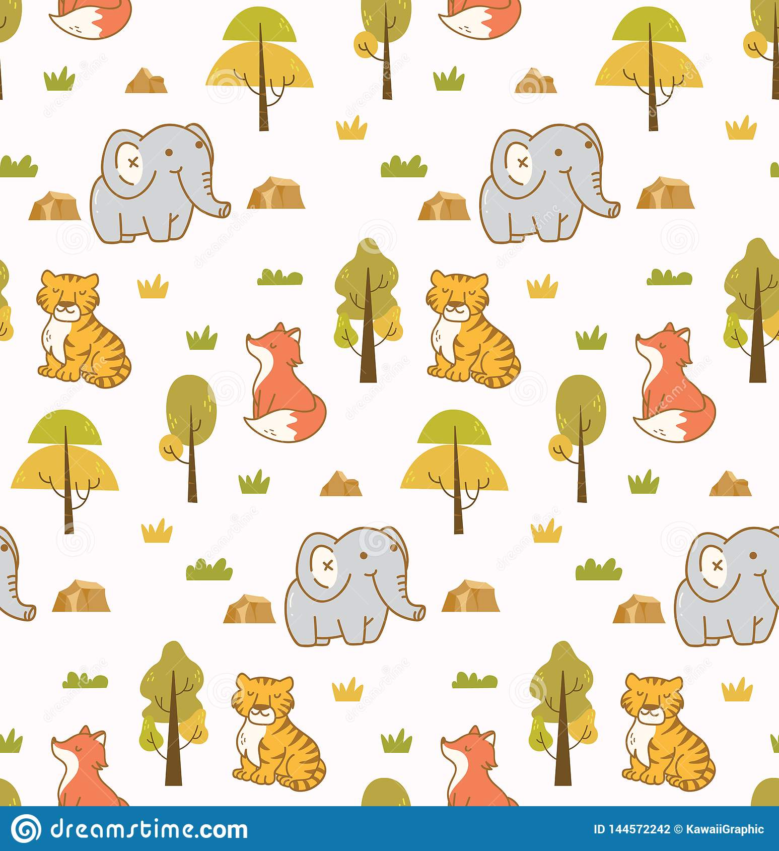 Cute animals seamless background with elephant, tiger and fox
