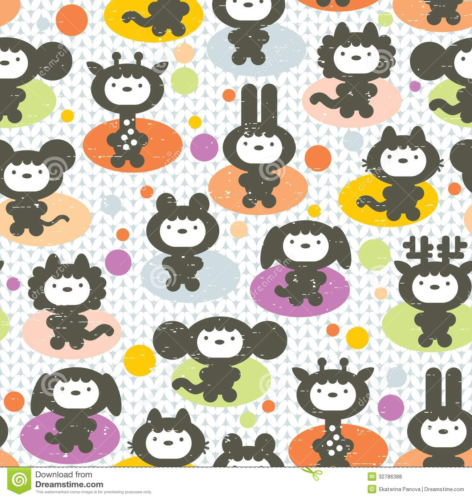 Cute animals seamless pattern royalty free stock photos - Tessuti fiorati ...