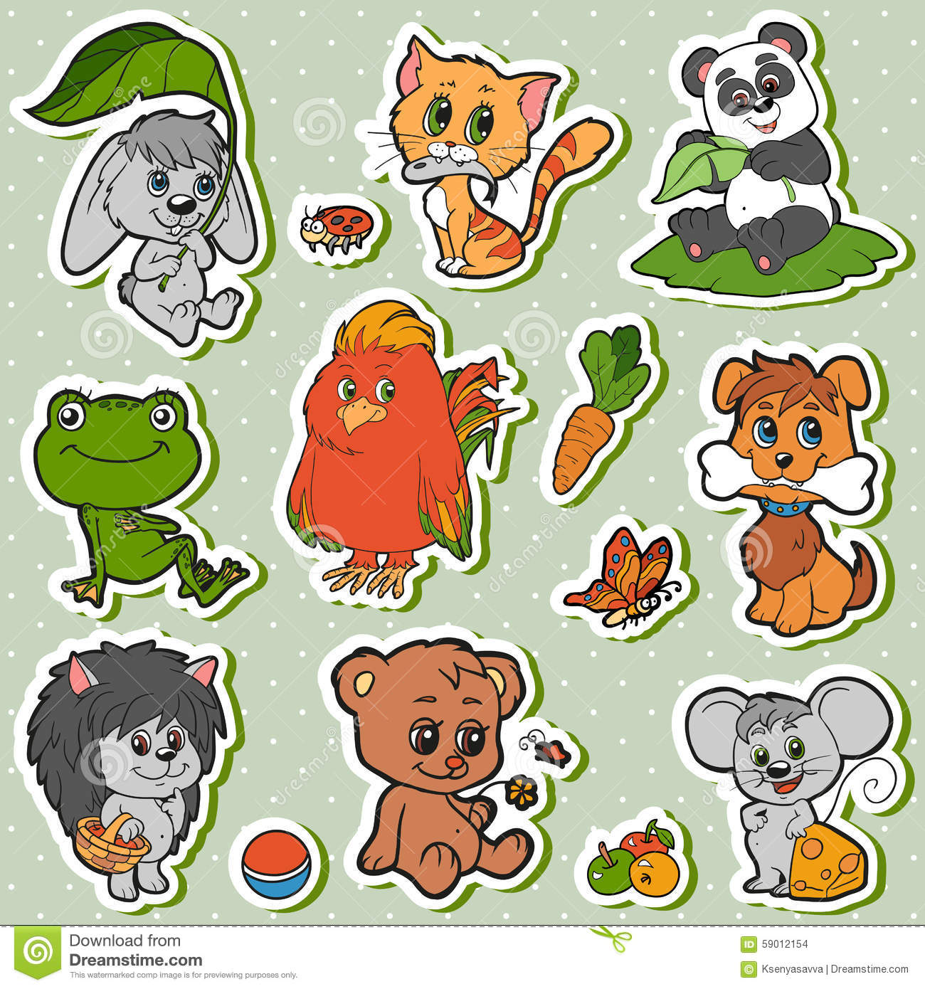 Panda Dog And Friends Facebook Stickers