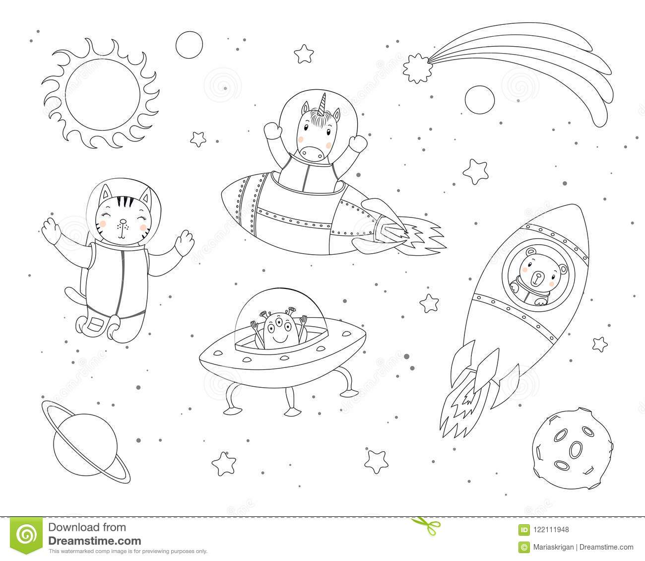 Cute animals in space coloring pages