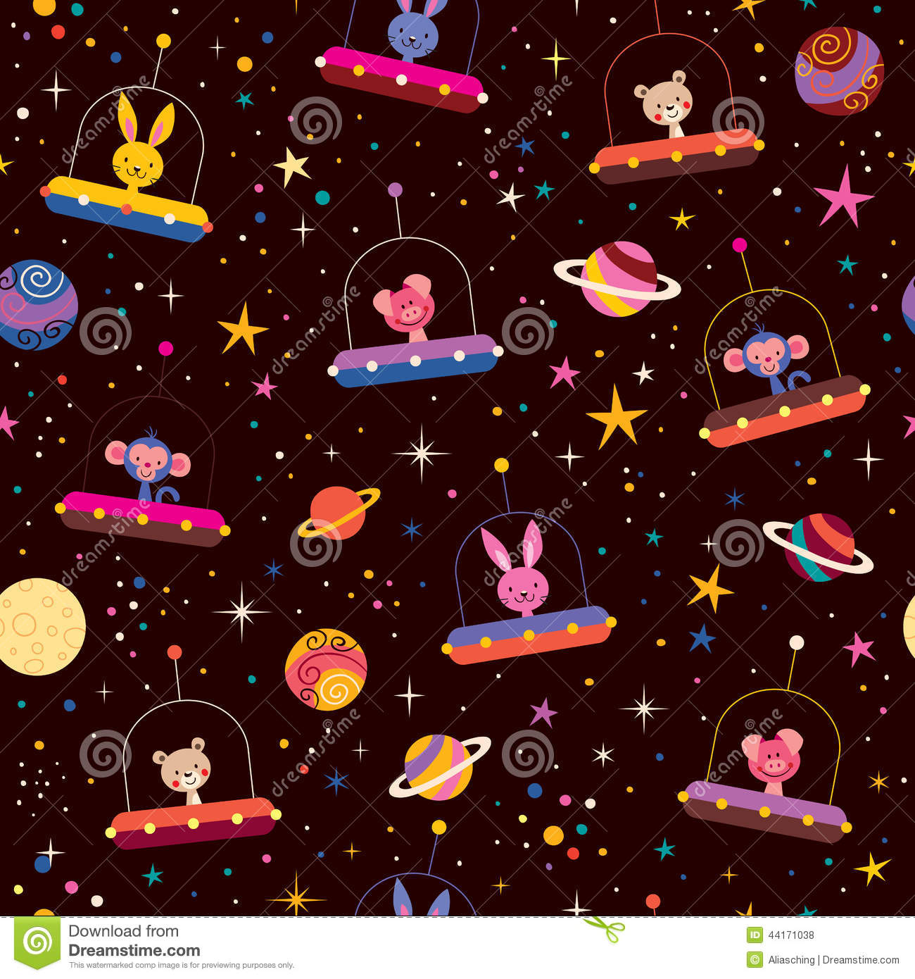 Cute Animals In Space Kids Pattern Stock Vector - Image: 44171038