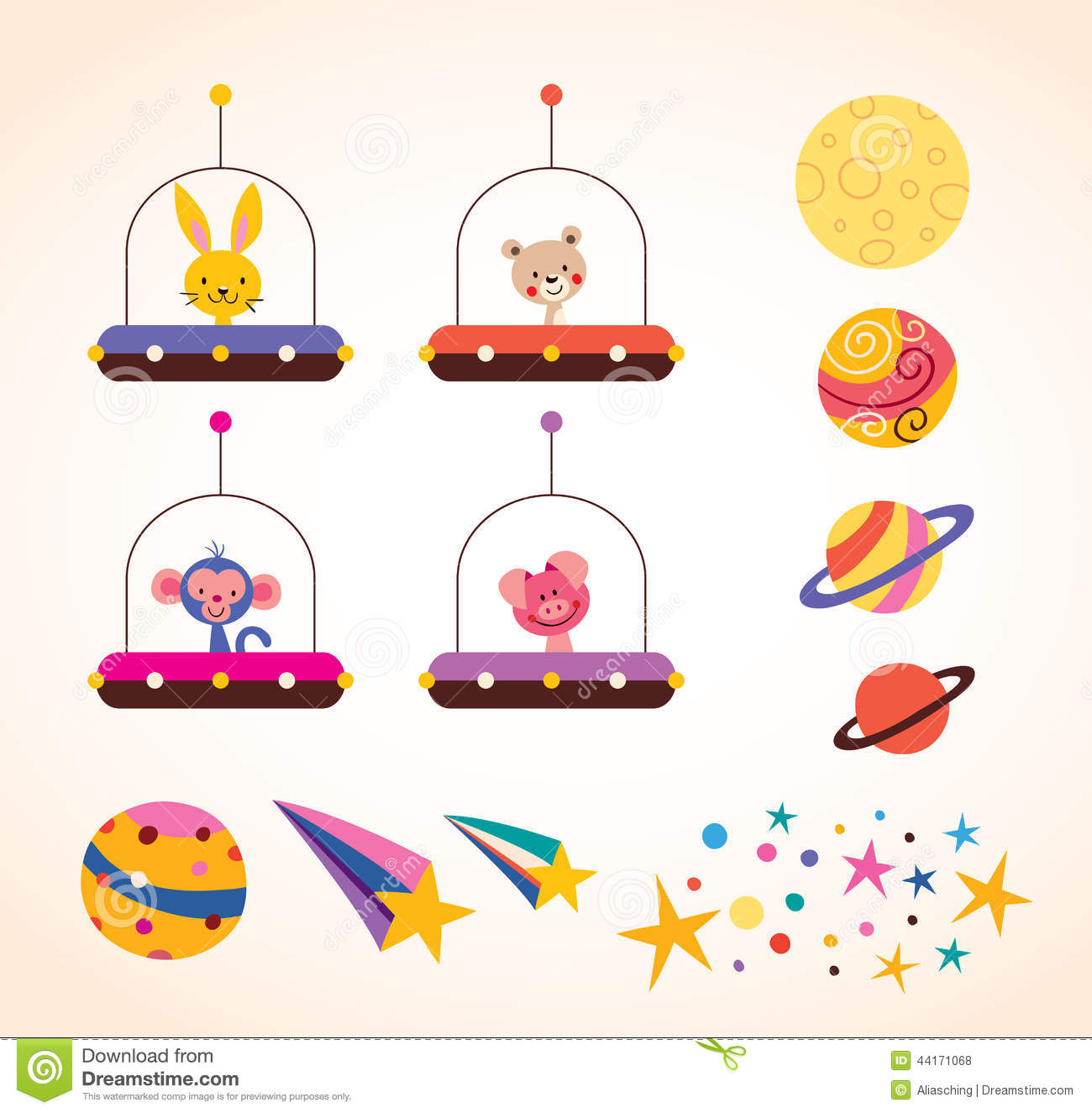 Cute Animals In Space Ships Kids Design Elements Set
