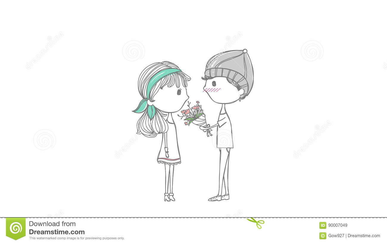 Cute animation cartoon lover couple with boy and girl in stylish doodle love concept stock video video of happy fashion 90007049