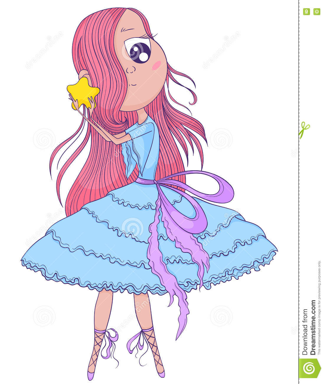 Anime Characters Holding Hands : Cute anime ballerina with pink hair in tutu holding her