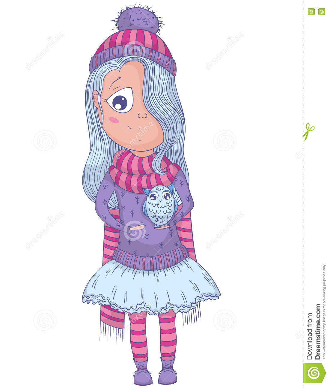 cute anime girl in tutu and winter clothes with owl stock