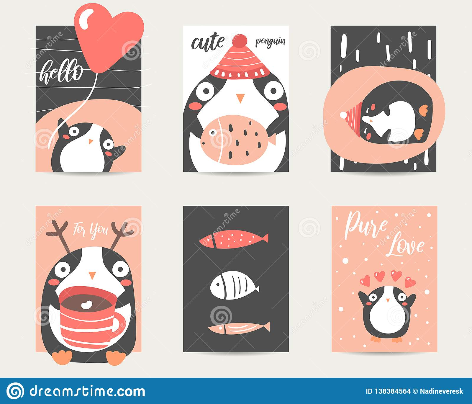Cute Anime Style Cards Brochures Invitations With Penguin Stock