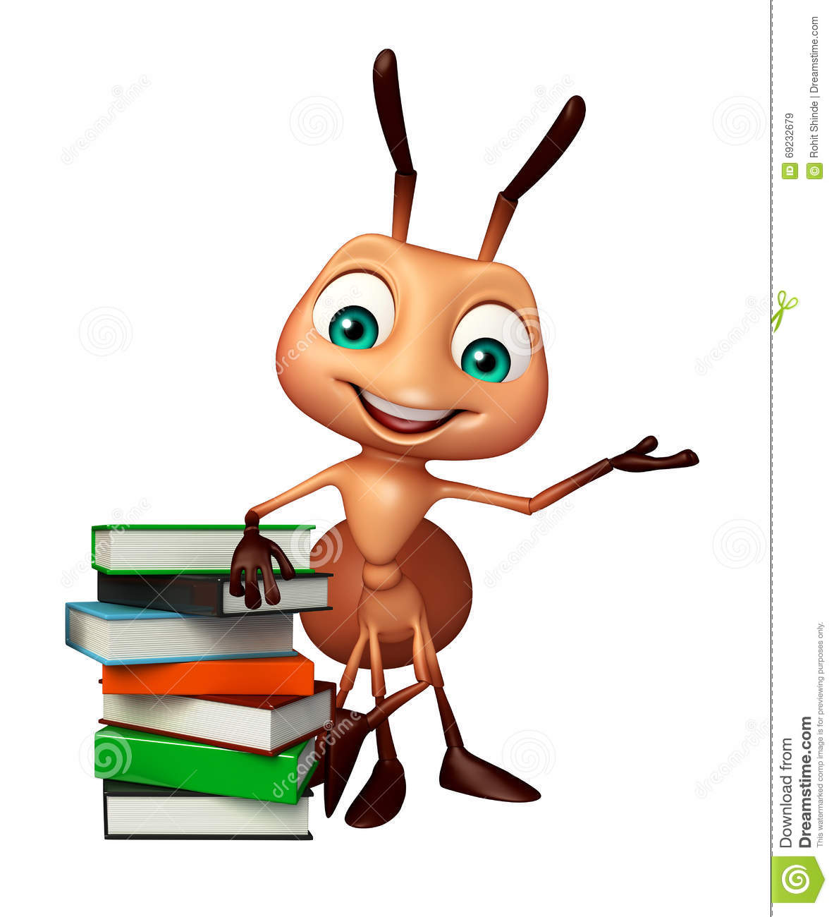 Cute Ant Cartoon Character With Book Stack Stock
