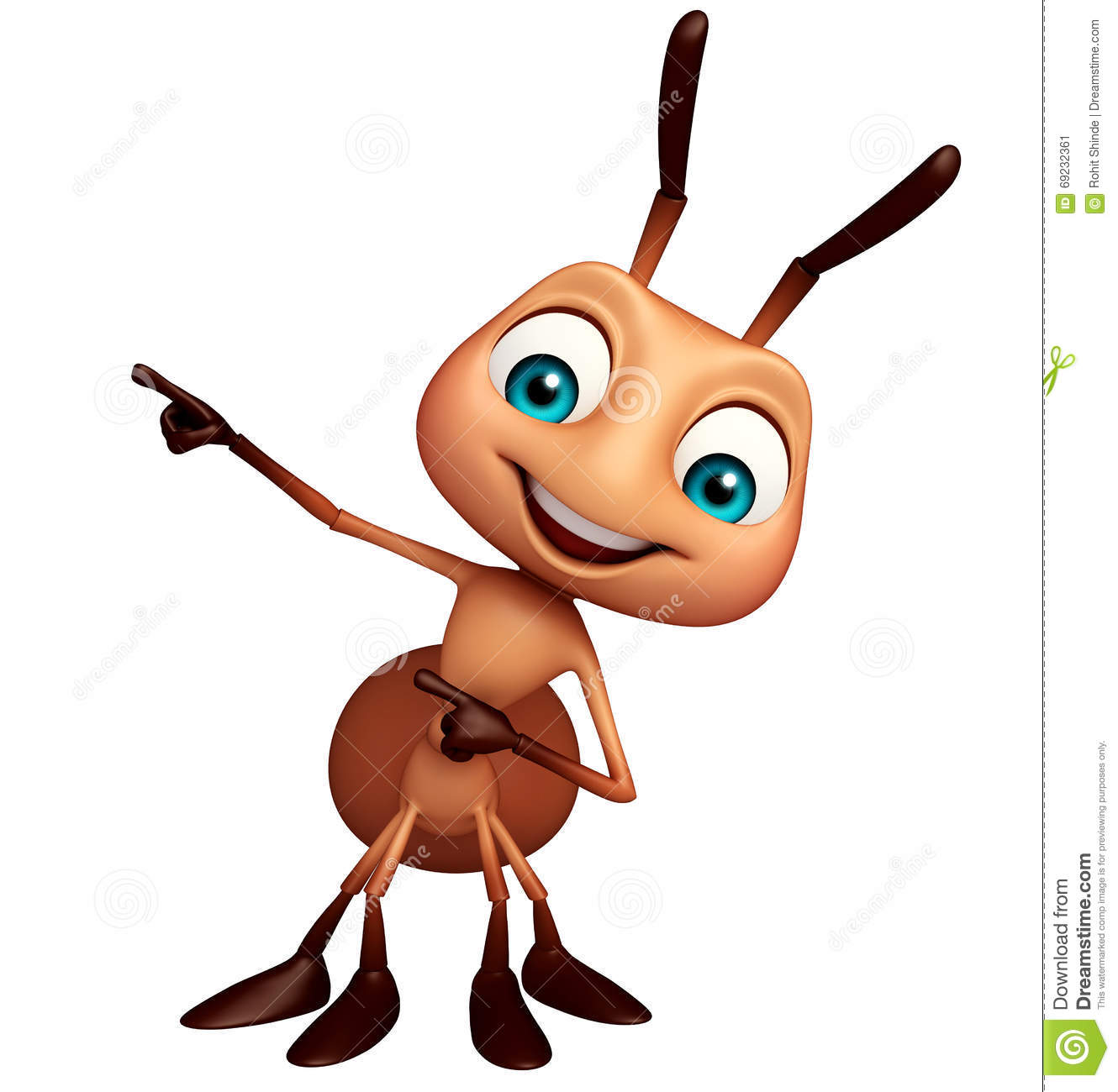 Cute ant funny cartoon character stock illustration