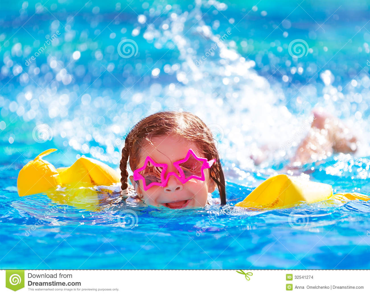 Cute arabic girl in the pool stock photo image 32541274 for Cute pool pictures