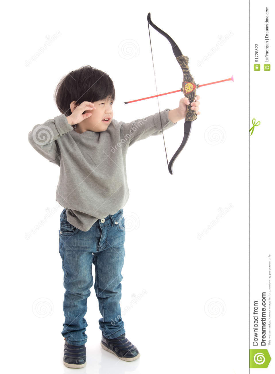 White Boys Toys : Cute asian boy playing toy bow stock image