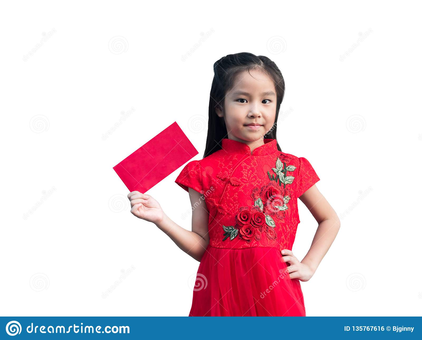 8fe3d552a Royalty-Free Stock Photo. Cute Asian girl in chinese cheongsam and  Tradition Chinese dress with red envelope , Chinese new