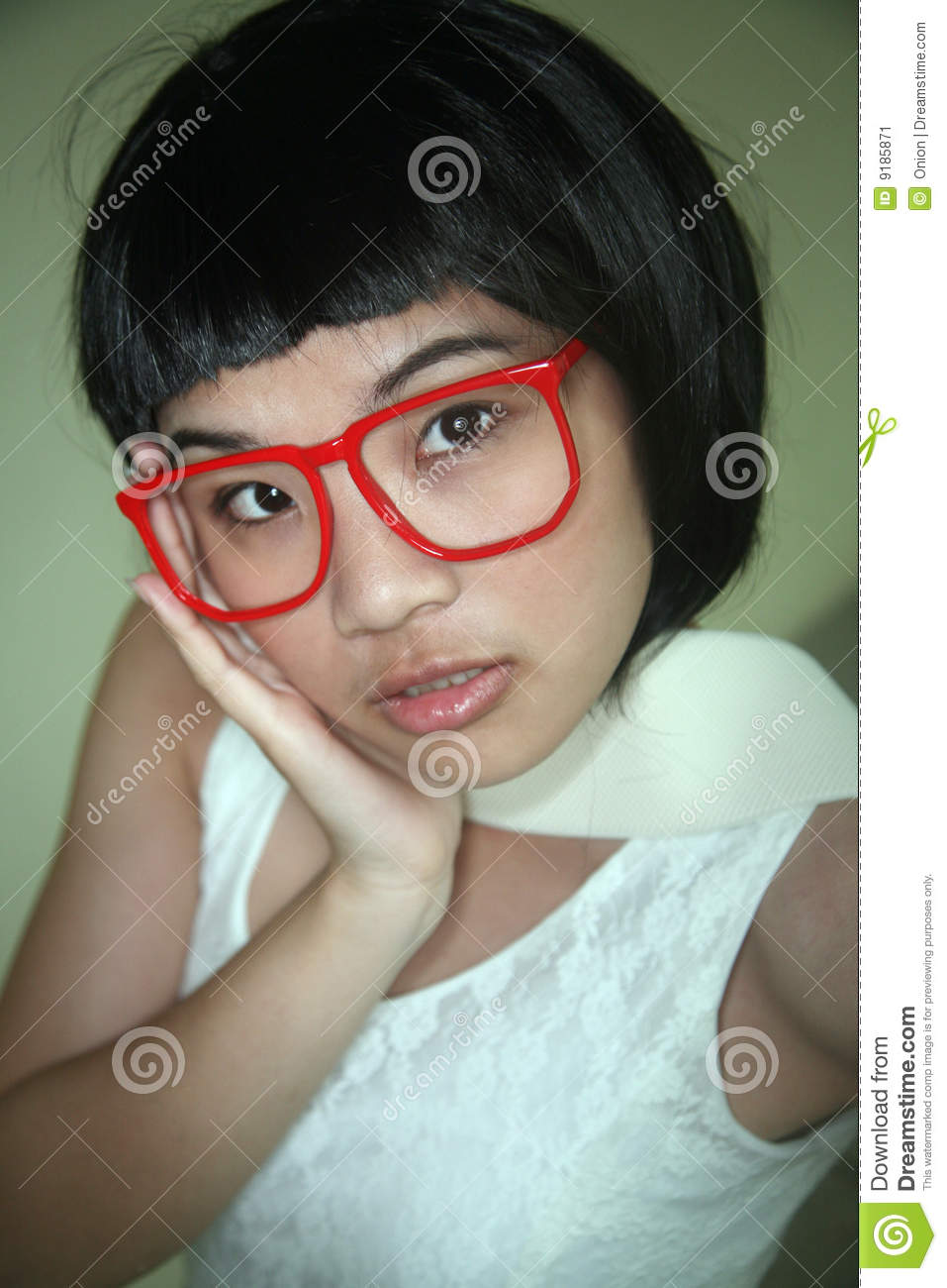 glasses with asian Cute girl
