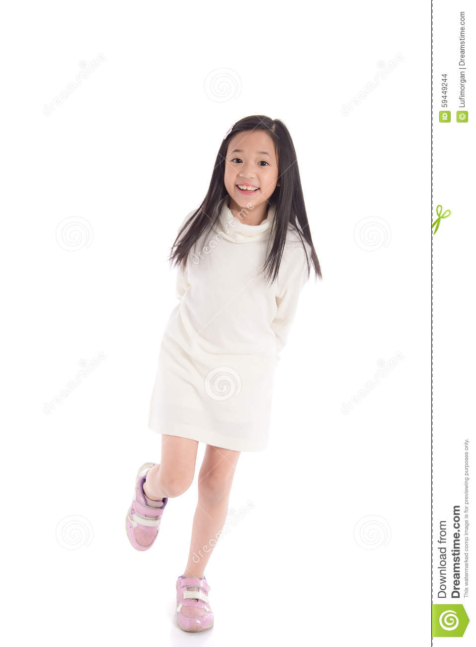 Cute Asian Girl In White Turtleneck Dress Showing Ok Sign