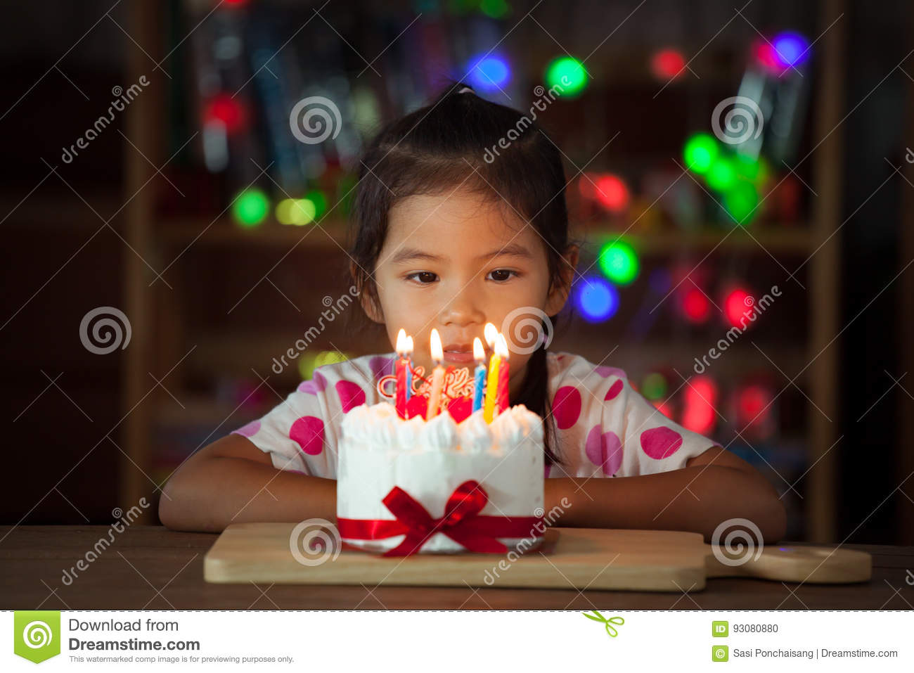 Cute Asian Little Girl With Birthday Cake In Birthday Party Stock