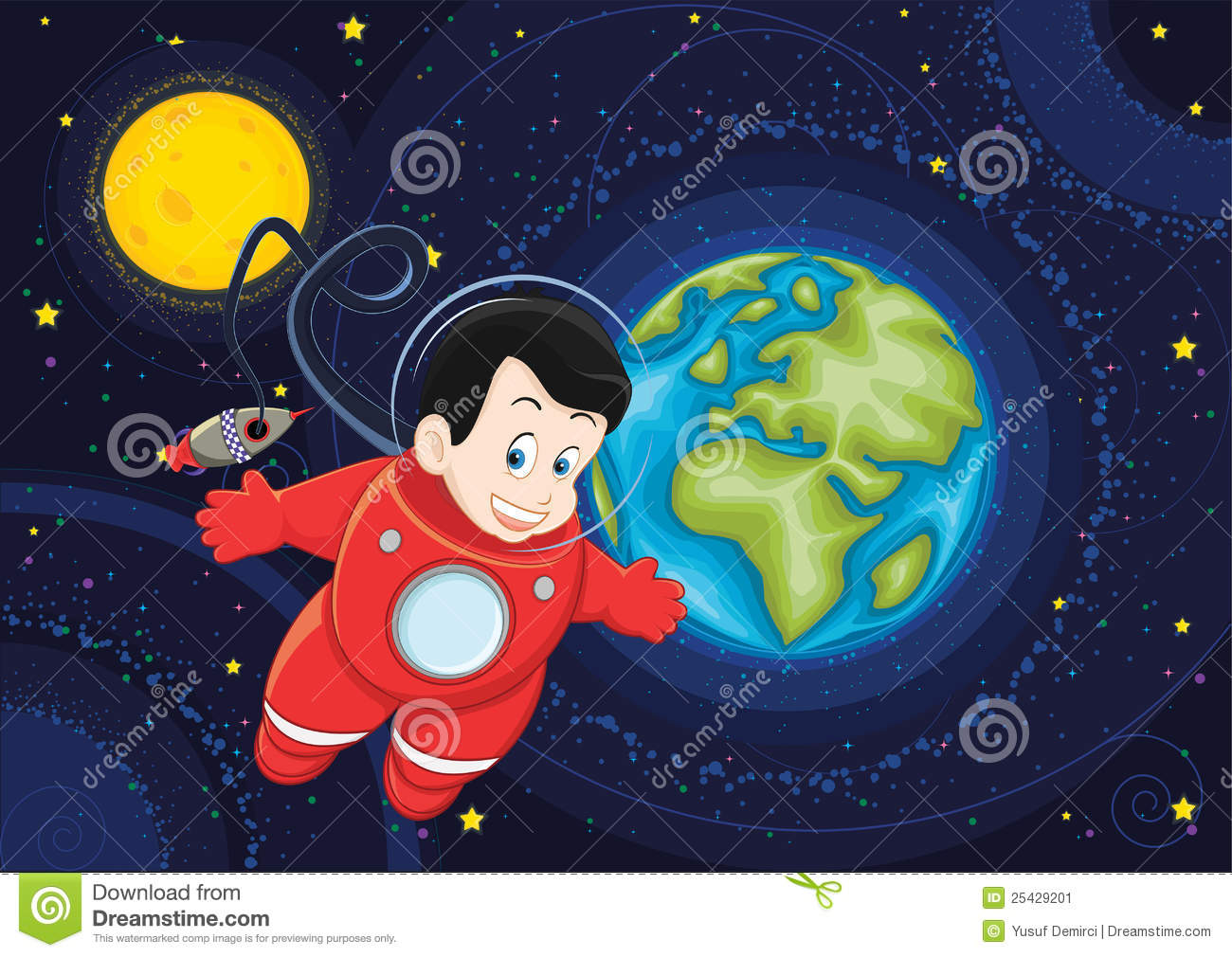 Niño De Dibujos Animados De Astronauta Volando En El: Cute Astronaut Flying In Space Vector Illustration Stock