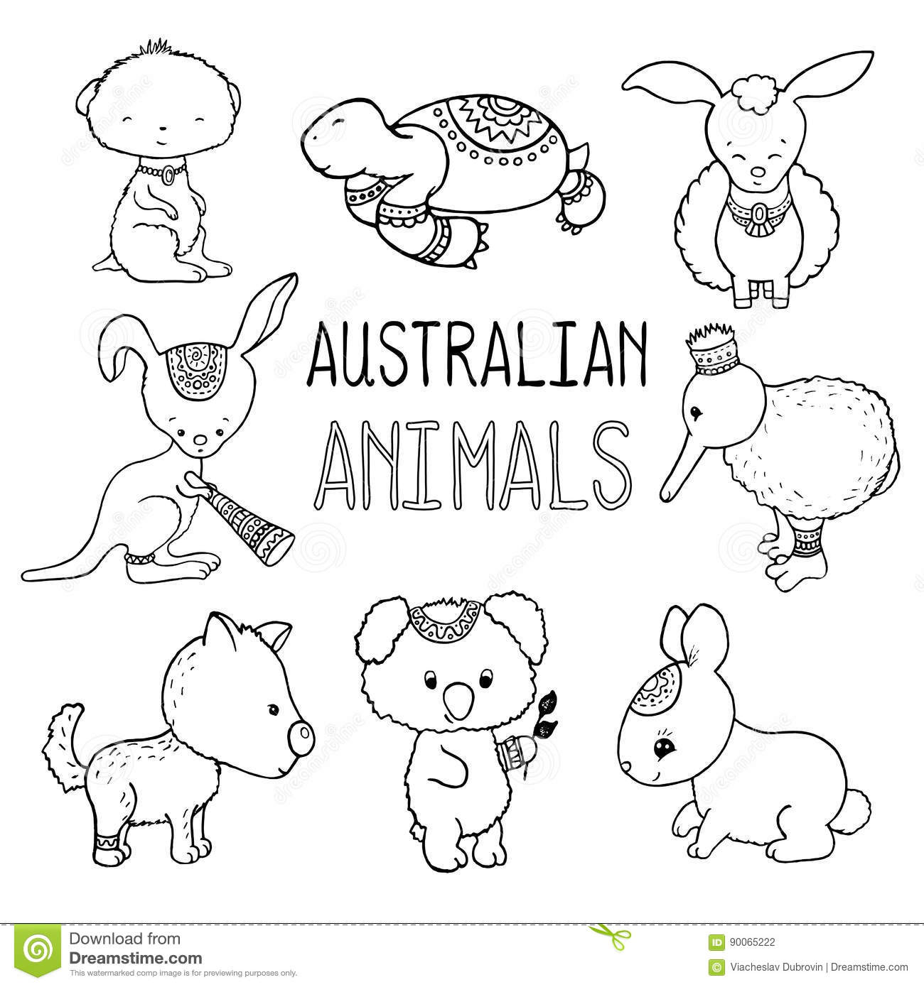 cute australian animals outlined drawing animals of australia hand drawn illustration stock. Black Bedroom Furniture Sets. Home Design Ideas