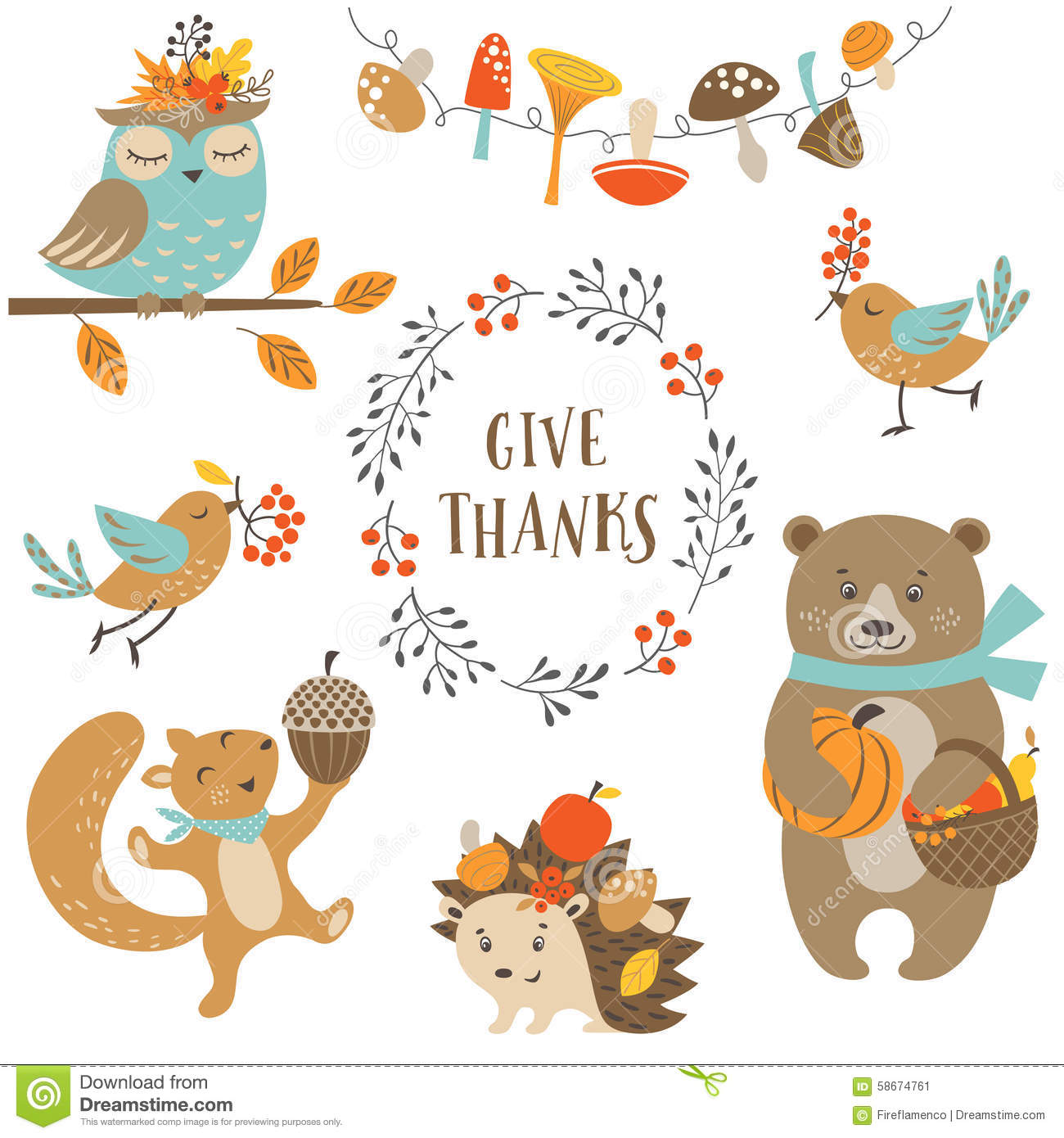 Cute Autumn Forest Animals Stock Vector Image 58674761
