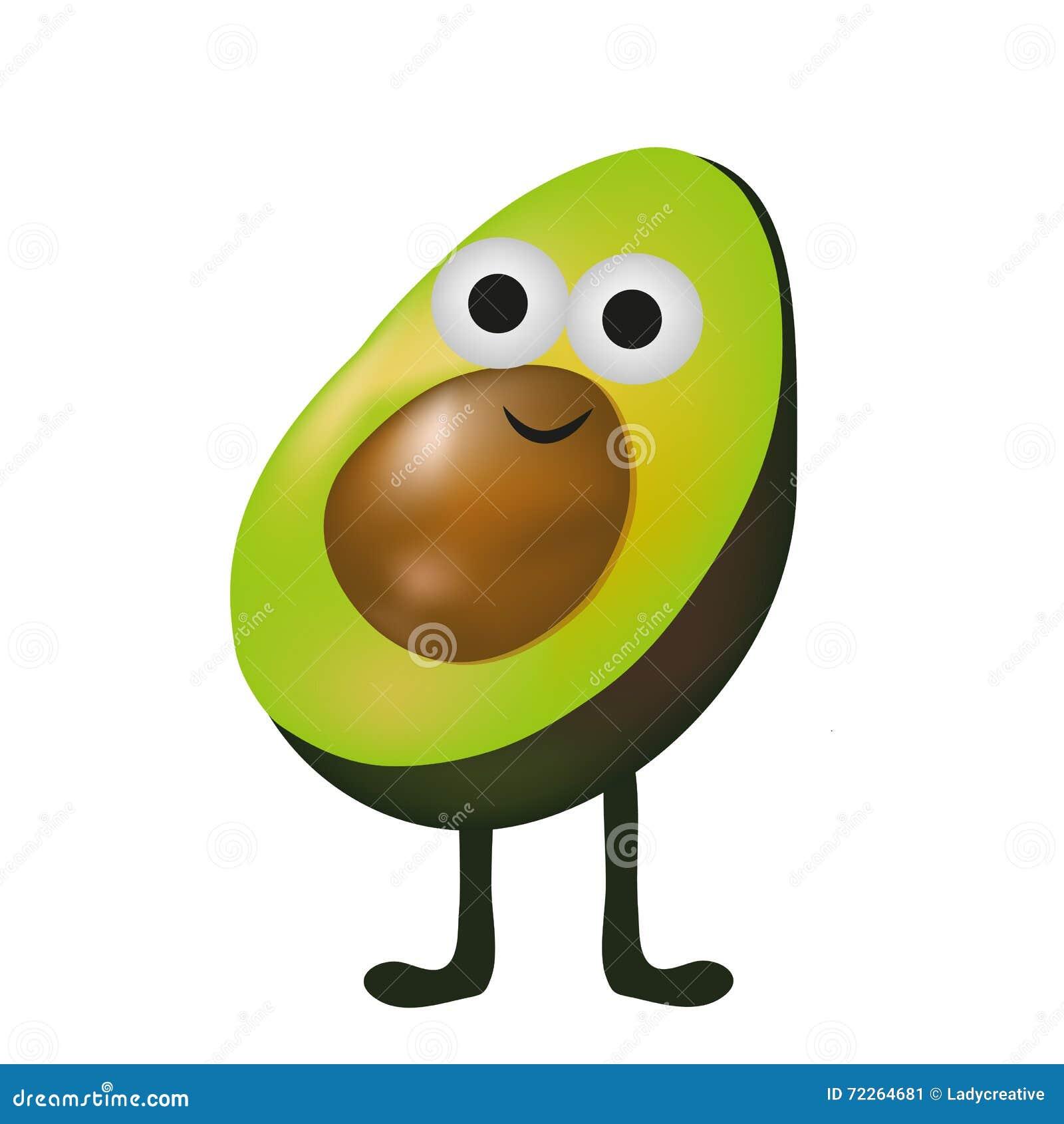 Cute Avocado Vector Cartoon Smile With Legs Stock Vector
