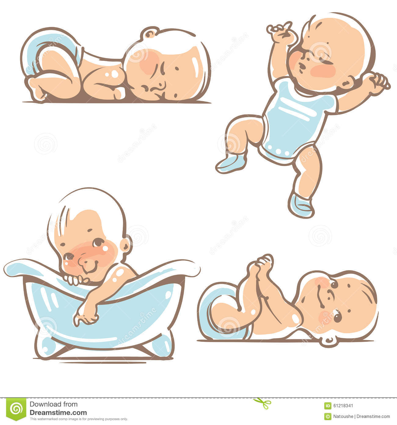 Cute Babies In Blue Clothes. Stock Vector - Illustration ...