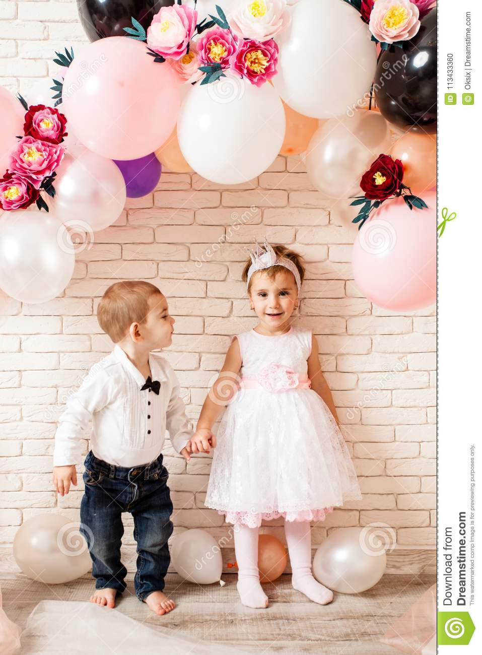 Cute baby boy and girl romantic pic