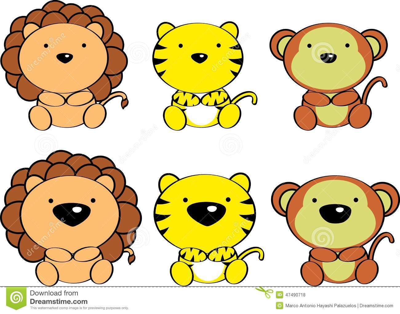 Cute baby animals cartoon set4 stock vector illustration of cute baby animals cartoon set4 voltagebd Image collections