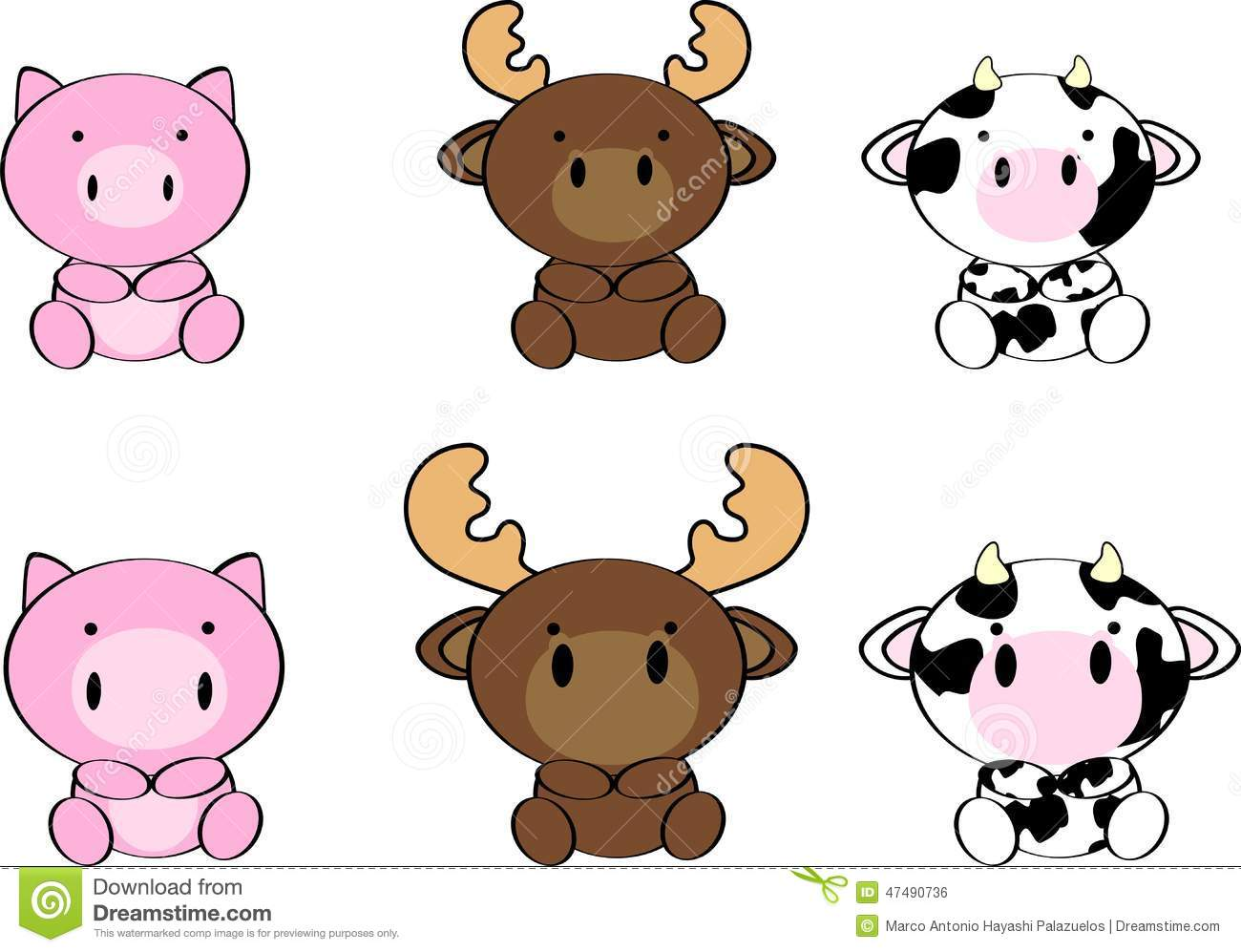 Cute baby animals cartoon set7 stock vector illustration of white cute baby animals cartoon set7 voltagebd Image collections