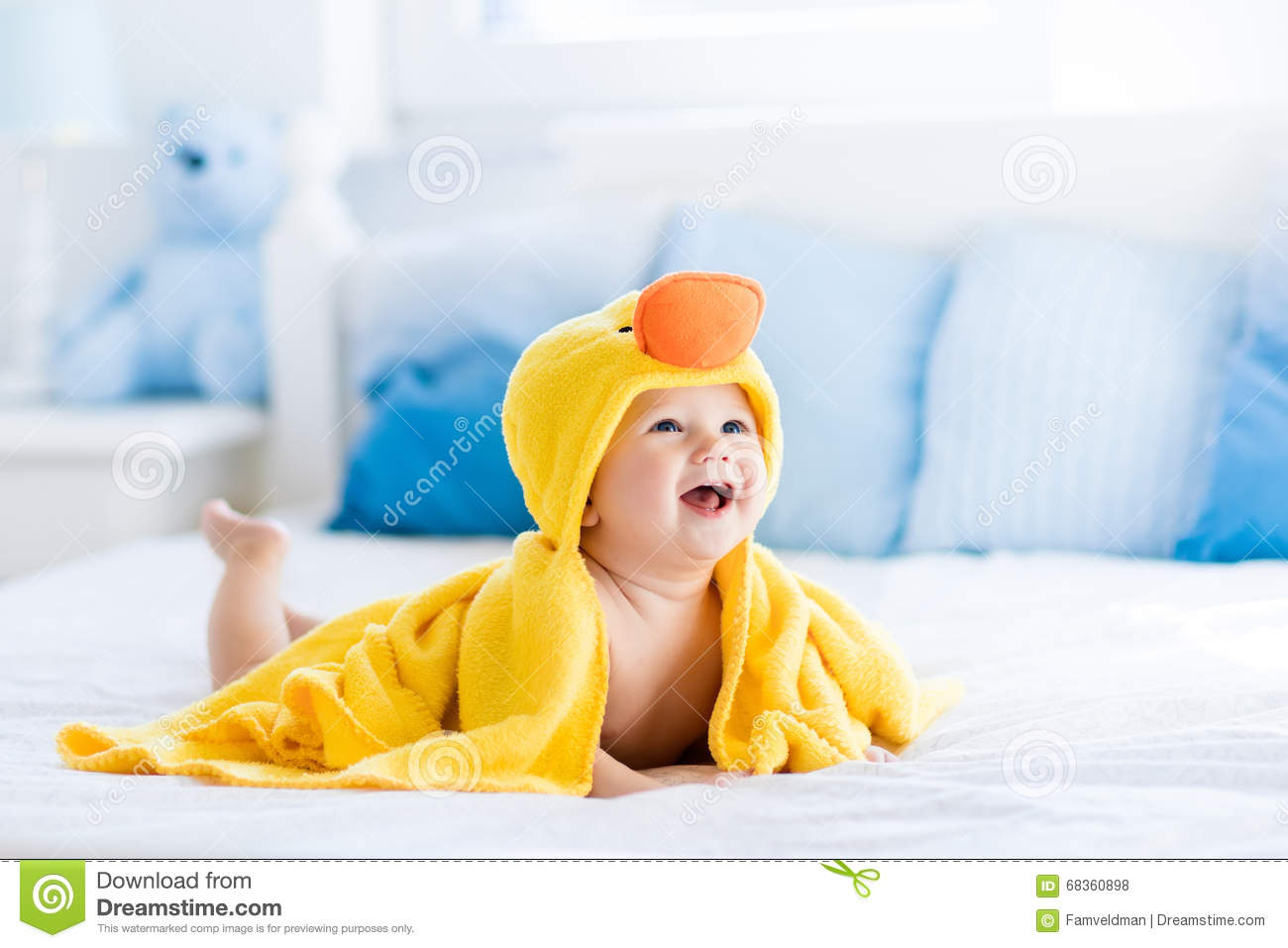 Cute Baby After Bath In Yellow Duck Towel Stock Photo - Image of ...