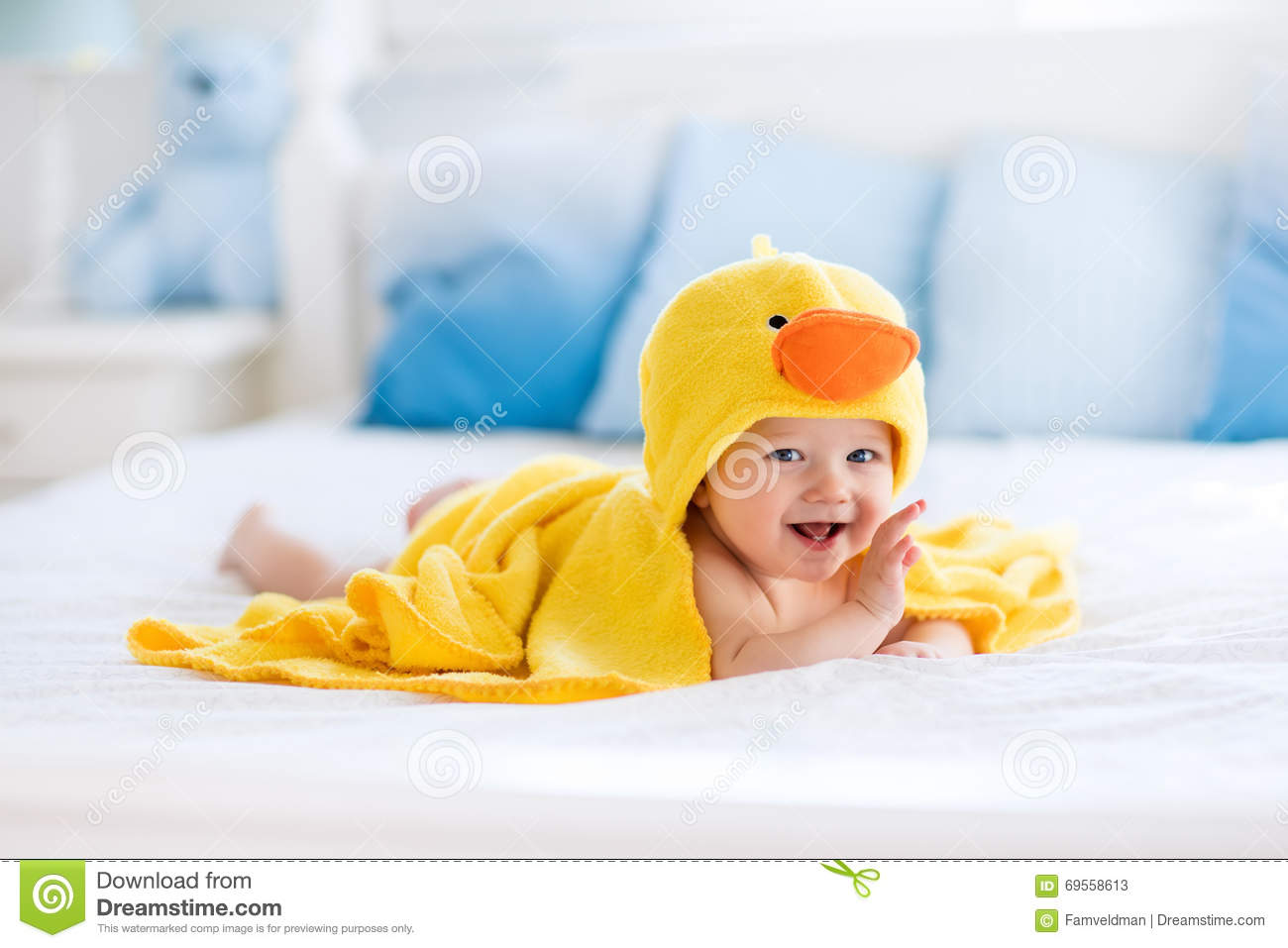 Cute Baby After Bath In Yellow Duck Towel Stock Image ...