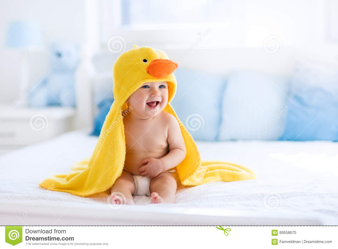 Cute Baby After Bath In Yellow Duck Towel Stock Photo ...