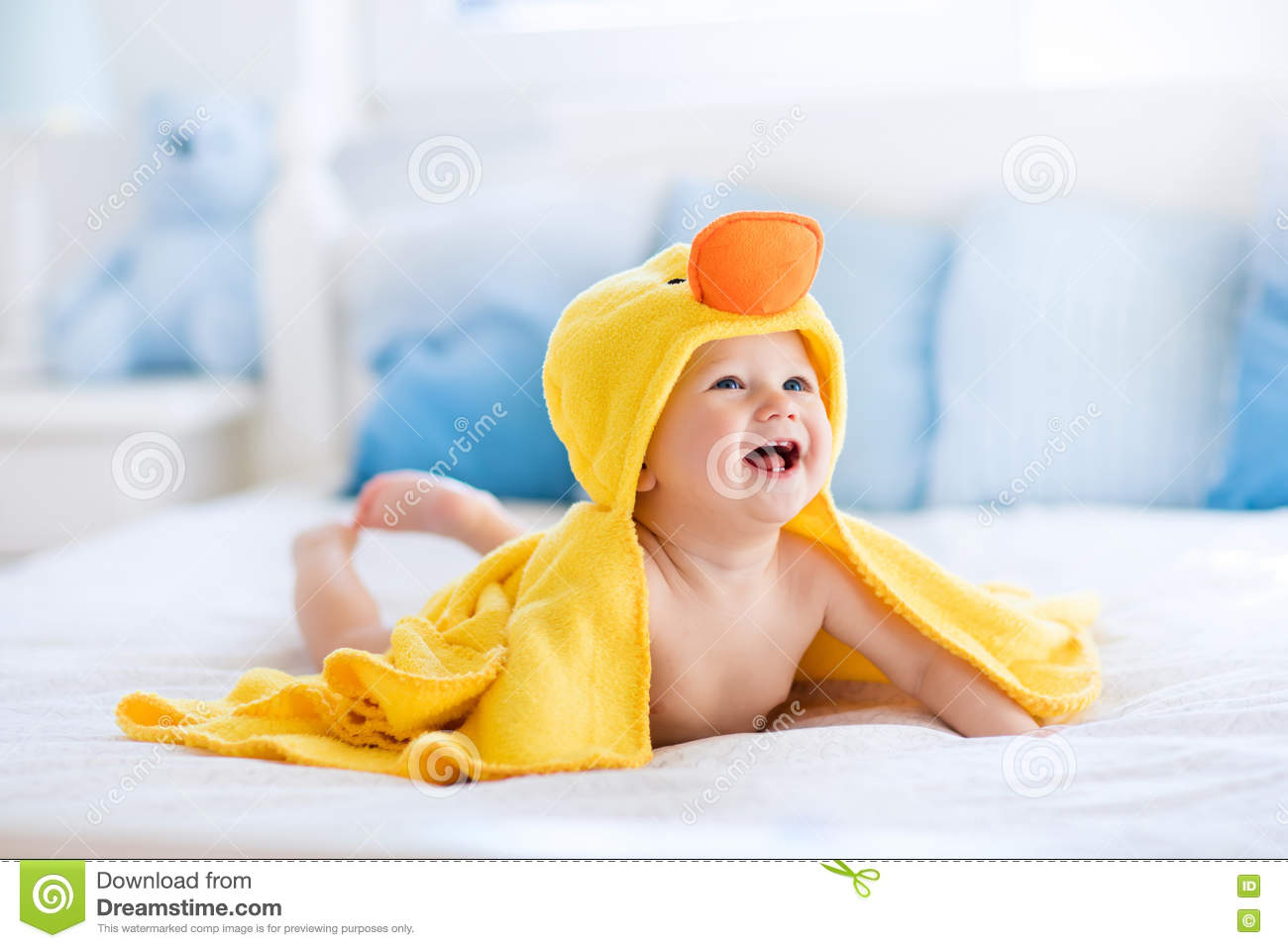 Cute Baby After Bath In Yellow Duck Towel Stock Image - Image of ...