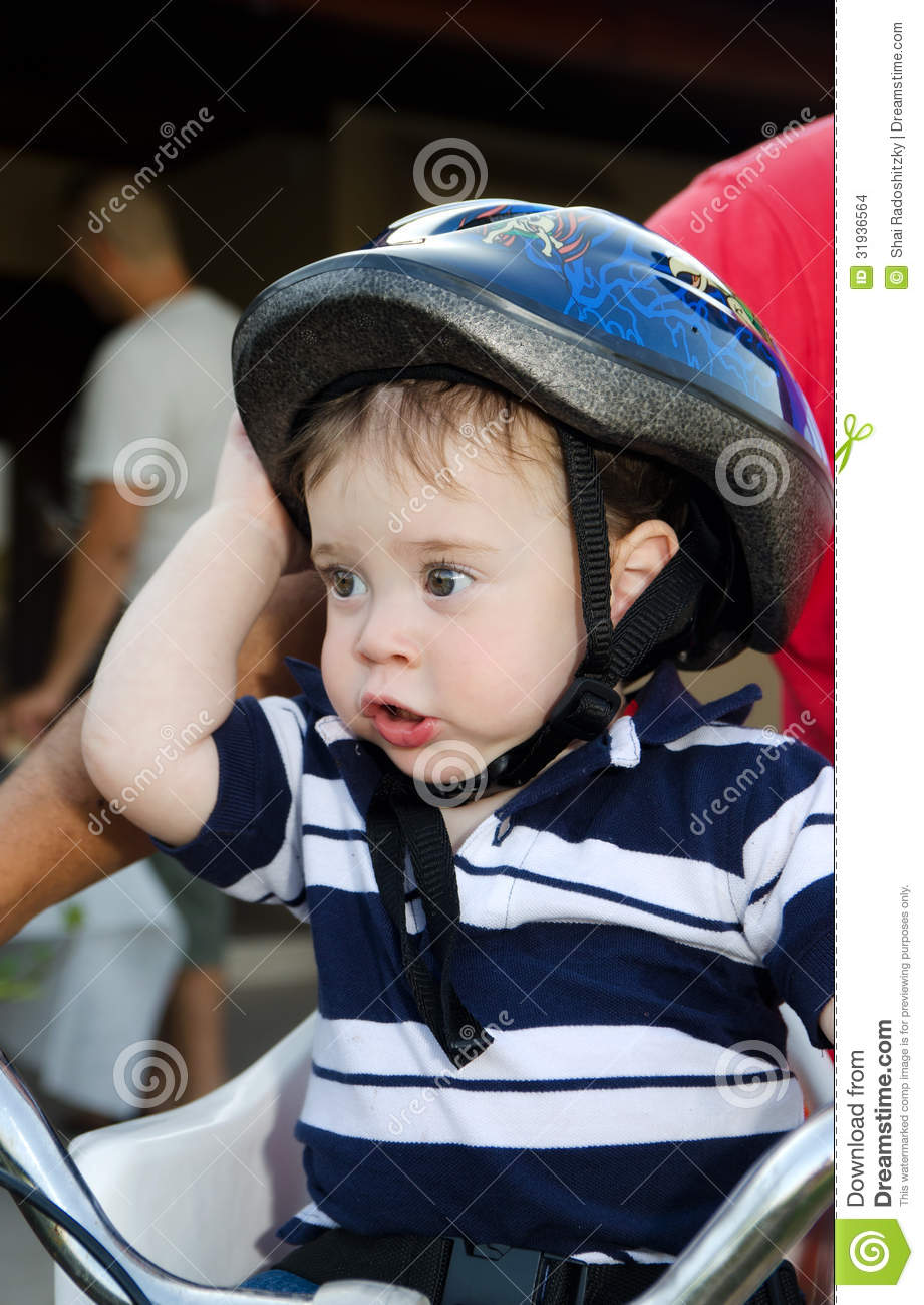 Cute Baby With Bicycle Helmet Stock Photo Image 31936564