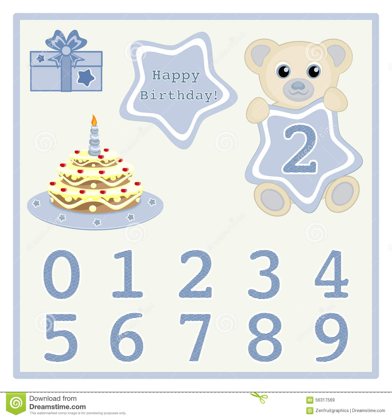 Cute Baby Boy Bears Vector Illustration With Star And Numbers Symbol Birthday Cake Candle