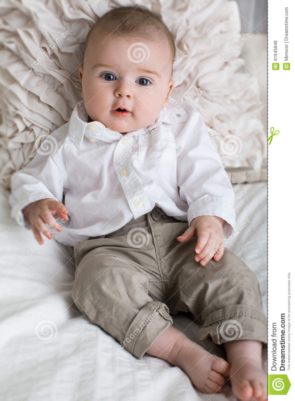 cute baby boy with big blue eyes stock photo image of funny face 61645646. Black Bedroom Furniture Sets. Home Design Ideas