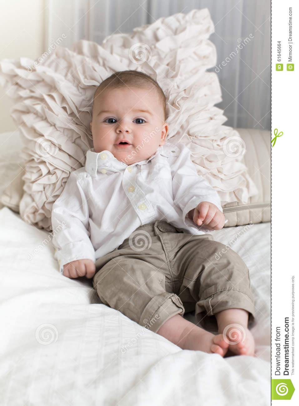 cute baby boy with big blue eyes. stock photo - image of life