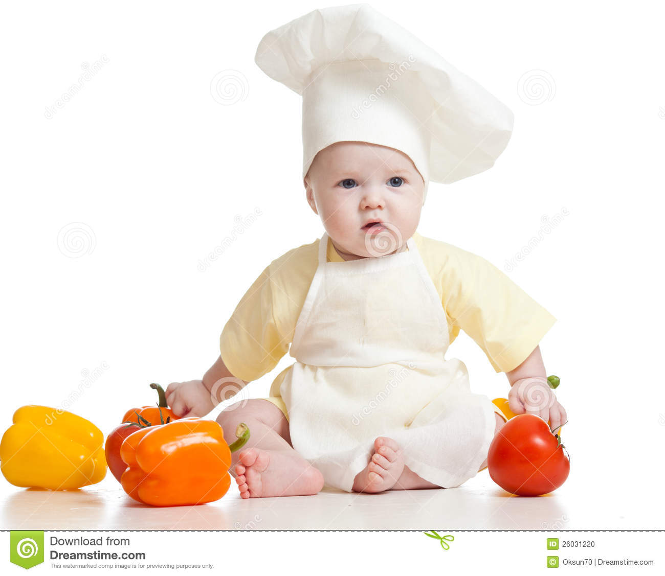 Cute Baby Boy Chef With Healthy Food Vegetables Stock Photo  Image