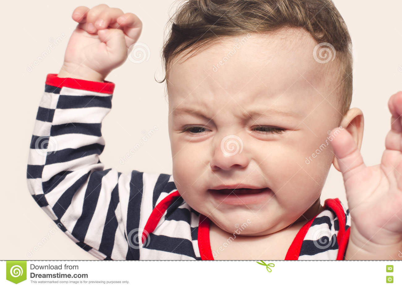 Cute Baby Boy Crying Raising His Hands Up. Stock Photo ...