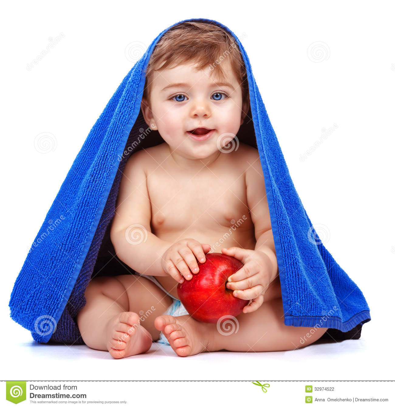 Cute Baby Boy Eating Apple Stock Photo Image Of Biting 32974522