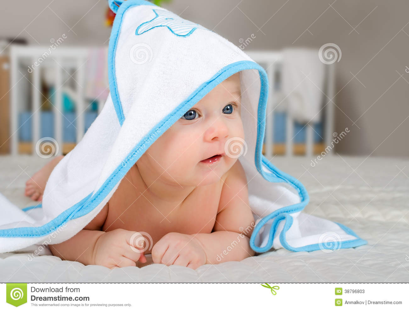 cute baby boy in a hooded towel after bath stock image - image of