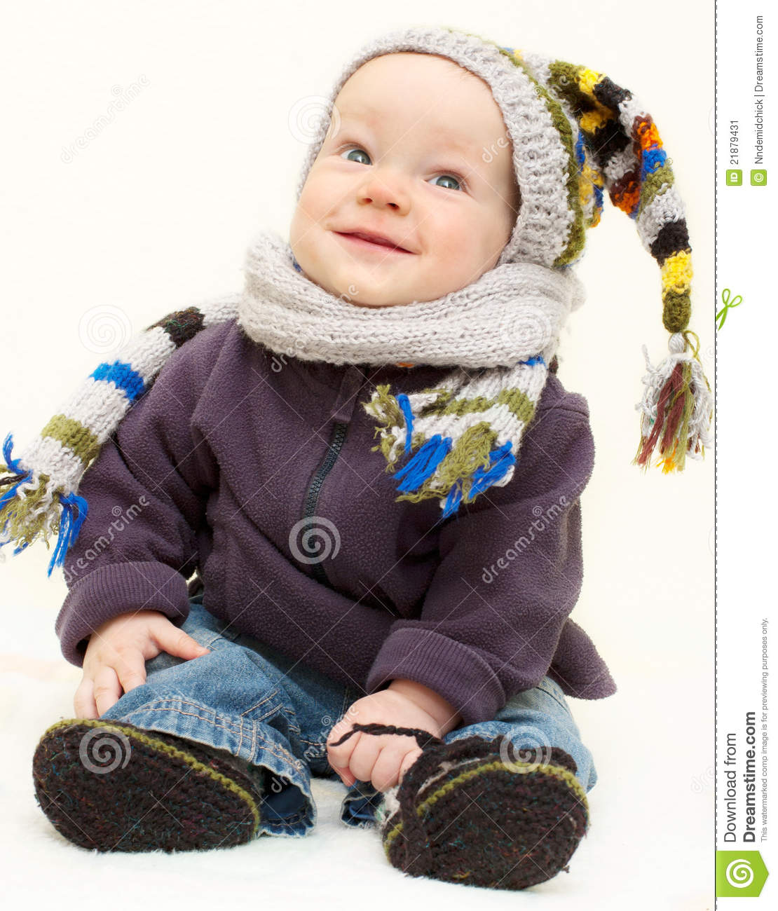 cute baby boy in knitted handmade wear stock image - image of child