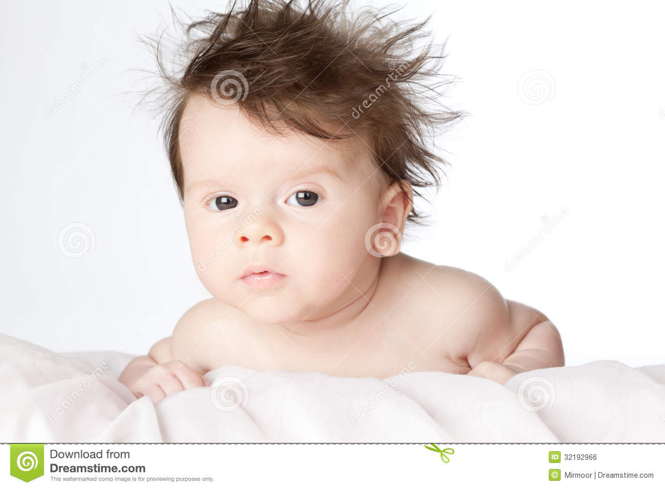 Cute Baby Boy With Long Hair. Stock Photo - Image of hair ...