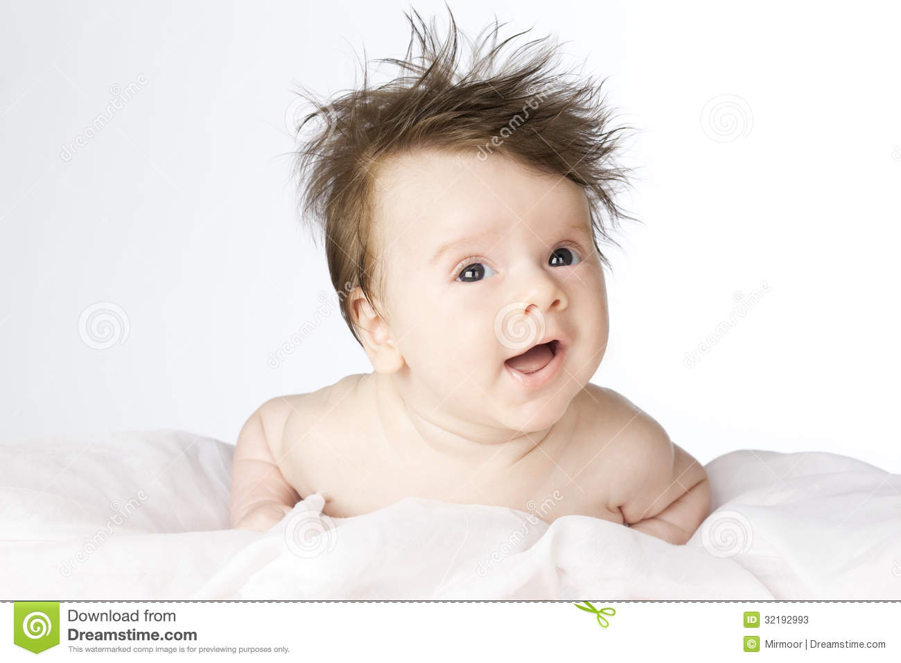 cute baby boy with long hair. stock image - image of happy