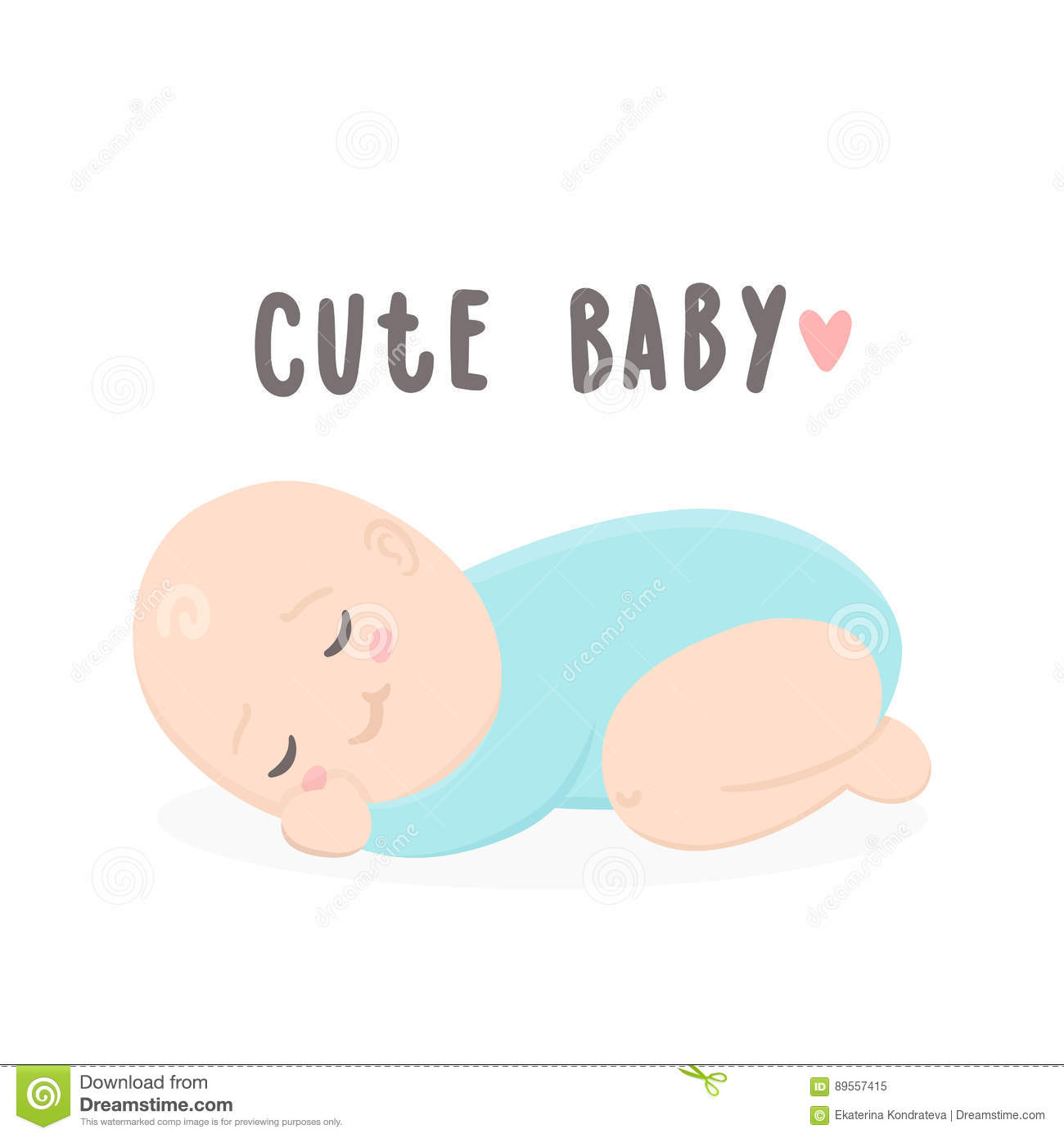 Cute Baby Boy Sleeping Stock Vector Illustration Of Announcement