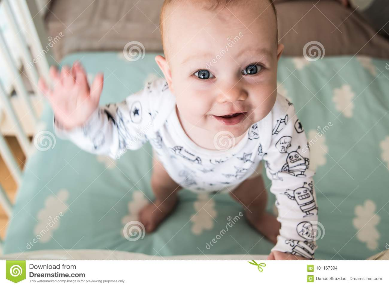 Cute Baby Boy Waving His Hand Stock Photo Image Of Sweet