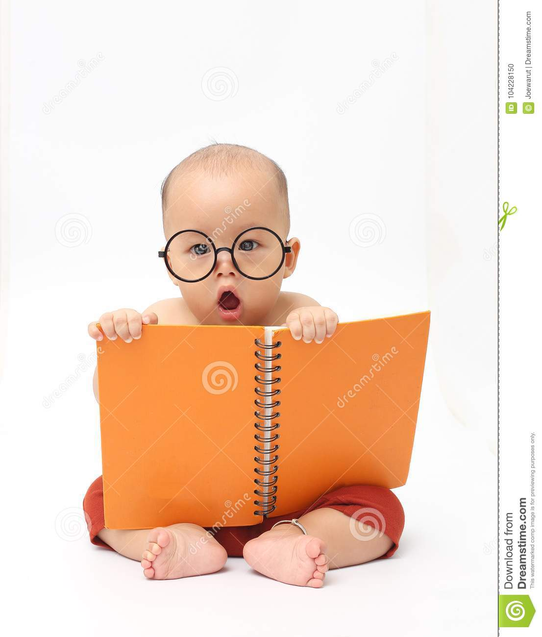 Baby Reading Book Stock Photo Image Of Read Smart 104228150