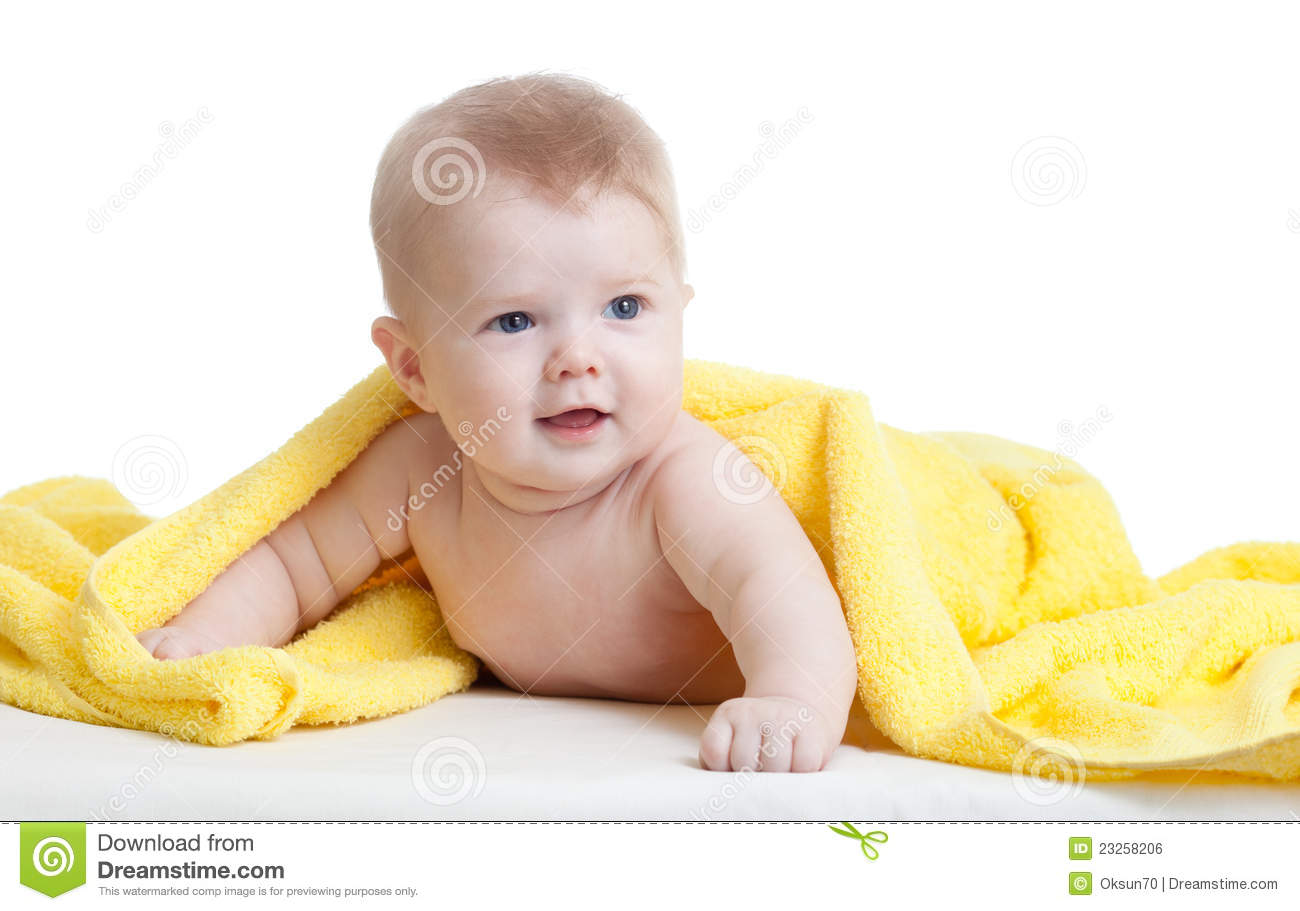 Cute Baby Boy In Yellow Towel On White Royalty Free Stock