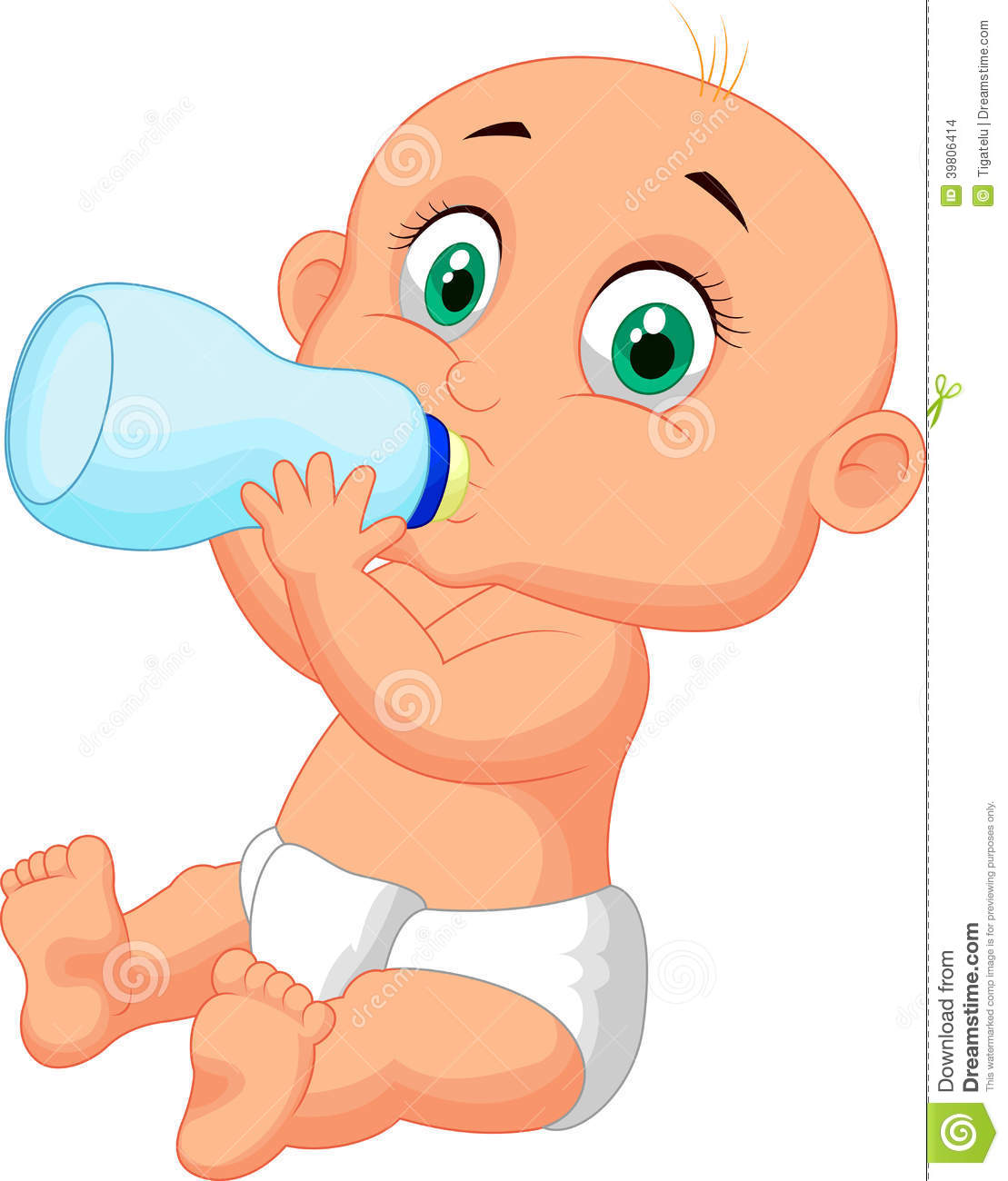 Cute baby cartoon drinking milk from bottle stock vector cute baby cartoon drinking milk from bottle voltagebd Image collections
